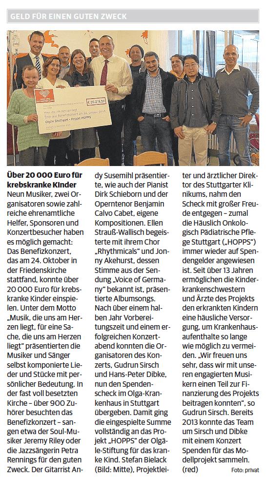 Artikel in der Ludwigsburger Kreiszeitung
